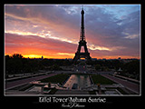 paris photos, eiffel tower sunrise from trocadero