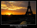 paris photography, eiffel tower deep orange sunrise