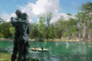 bois de boulogne boating lake, painting, paris