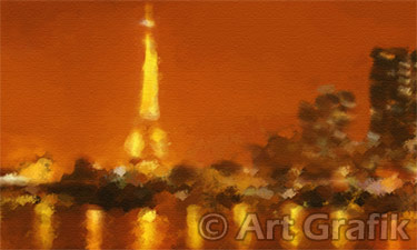 SEINE NIGHT REFLECTIONS, paris paintings, canvas, limited edition, france