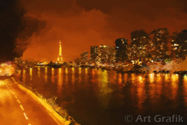 SEINE NIGHT REFLECTIONS, art canvas, painting, limited edition, signed