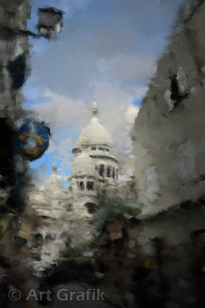 THROUGH THE BACK STREETS OF MONTMARTRE, art canvas, painting, limited edition, signed