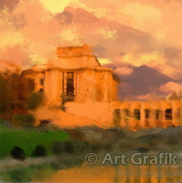 TROCADERO SUNSET, paris paintings, canvas, limited edition, france