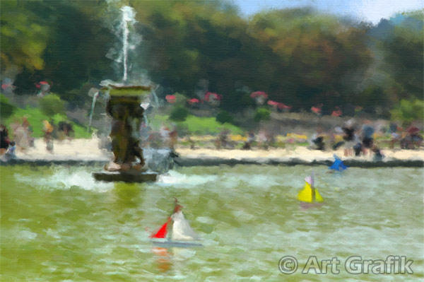 THE BOATING POND, art canvas, painting, limited edition, signed