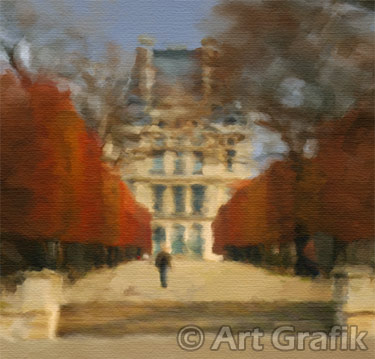 AUTUMN IN TUILERIES, paris art, canvas, limited edition, signed