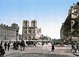 old photos of paris, Notre Dame, and St. Michael bridge, Paris