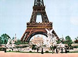 paris photos, Eiffel Tower and fountain, paris 1900 photochrom
