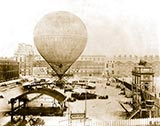 paris photos, Grand Balloon of Mr. Henry Giffard, 1878 - Birds-eye view of Balloon before ascent from Tuillerie Gardens, Paris