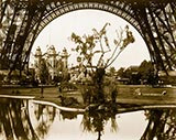 paris photos, Pavilion of Bolivia, seen through the base of the Eiffel Tower, Paris Exposition, 1889