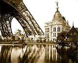 paris photos, Gas Pavilion and Swedish chalet at right, section of Eiffel Tower at left, Paris Exposition, 1889