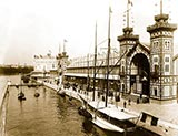 paris photos, Transatlantic Panorama Pavilion, the Palace of the French Navy and the Life-saving Apparatus and Navigation exhibitions, along Seine waterfront, Paris Exposition, 1889