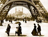 old photos of paris, Looking through Eiffel Tower to the Trocadero and Colonial Section, Exposition 1900, Paris, France