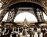 old photos of paris, Crowd of people walking under the base of Eiffel Tower, view toward the Central Dome, Paris Exposition, 1889
