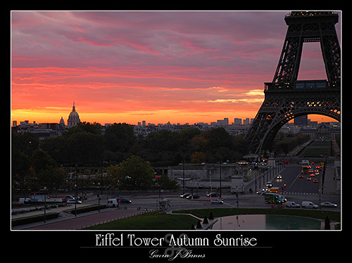 Eiffel Tower, Autumn Sunrise,