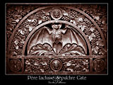 paris photos, PERE LACHAISE SEPULCHRE GATE, bat, gothic, paris