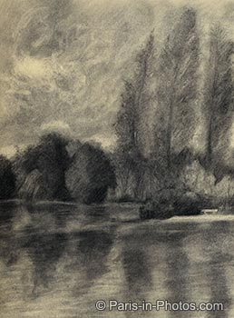 parc de boulogne, charcoal drawing, art