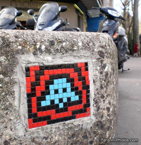 space invaders, paris mosaic