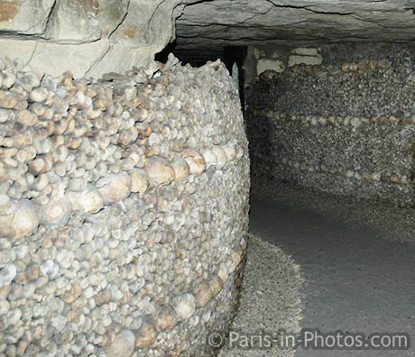 Paris catacombs, tunnels, passageways, ossuary, skulls, bones