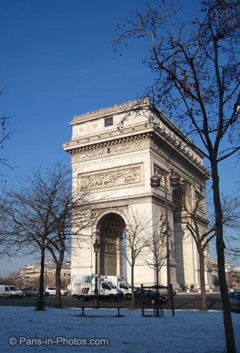 paris in snow, champs elysees, paris winter, arc de triumph