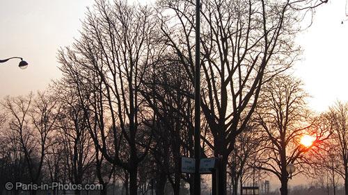 paris park, sunsetting in paris, paris sunset