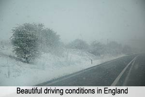 Driving in English snow.