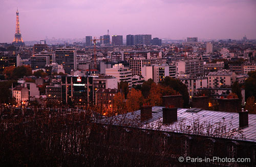 eiffel tower, dusk, view from saint-cloud